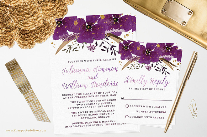 Custom wedding invitations from The Spotted Olive