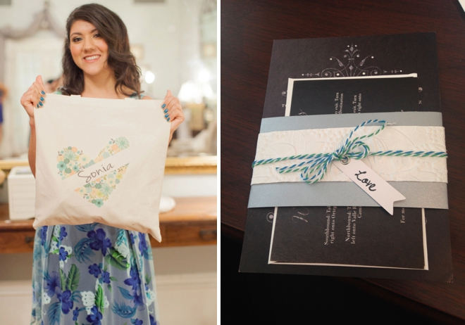 Custom bridesmaid bag and invitations