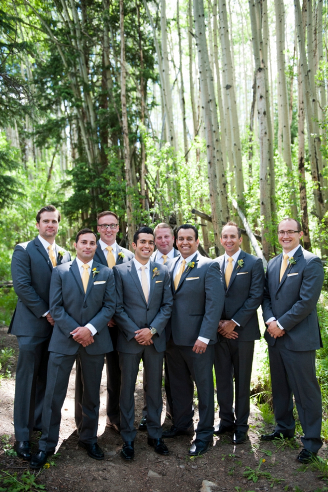Navy groomsmen and yellow ties
