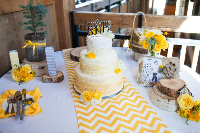 Yellow chevron cake table