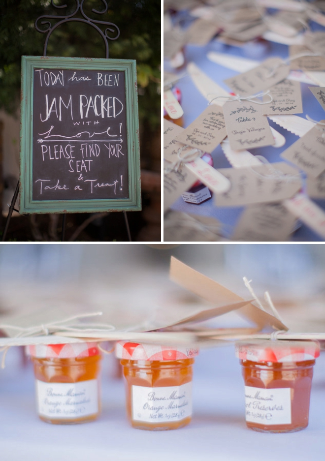 Jam wedding favors and seating cards