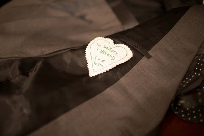 Special embroidered heart inside groom jacket