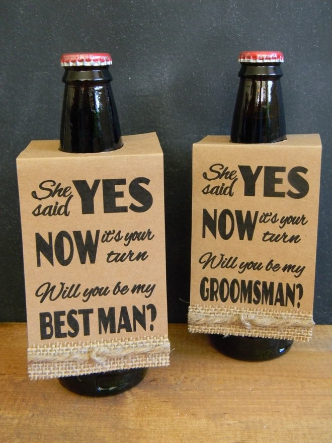 Free Will You Be My Groomsman Beer Bottle Hang Tags
