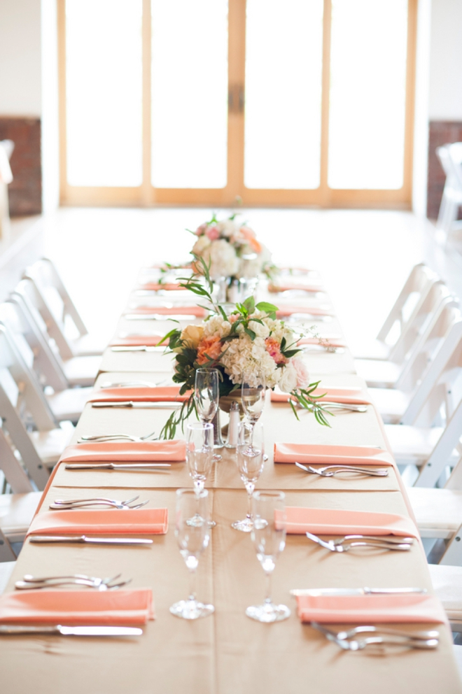 Peach wedding table display