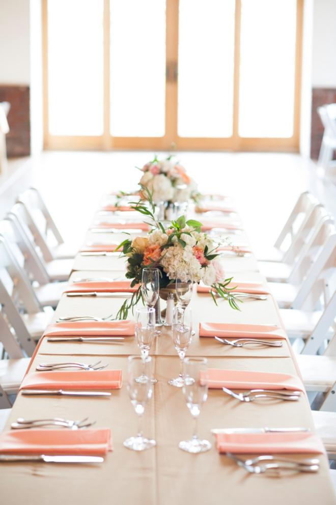 Peach wedding table display