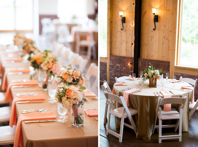 Rustic peach wedding decor