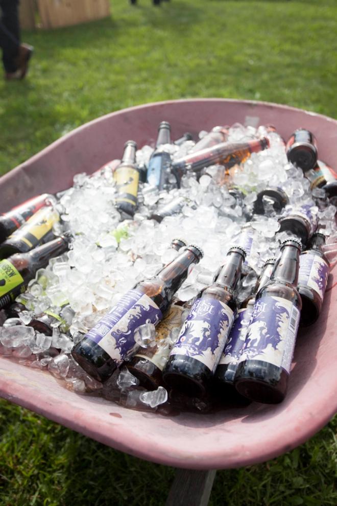 Beers in a wheel barrel
