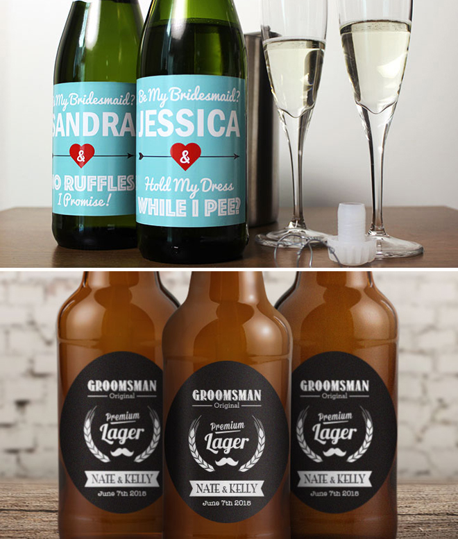 Custom Bridal Party Wine Labels And Beer