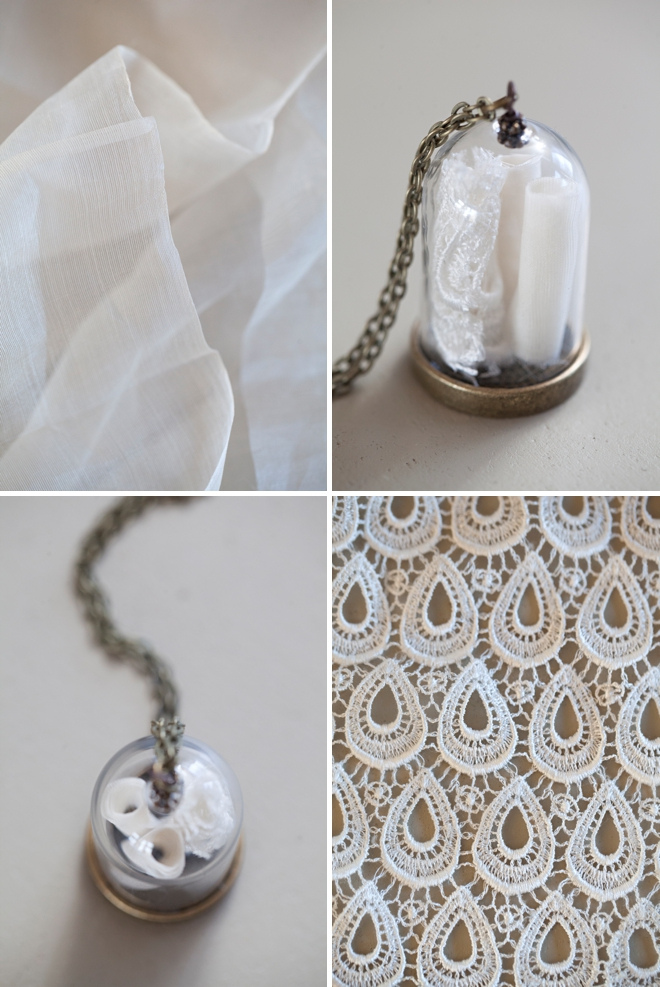 Make your own wedding dress keepsake necklace