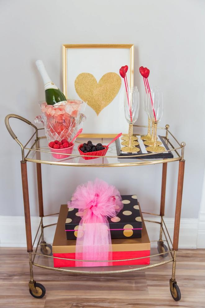 Pink champagne bar cart