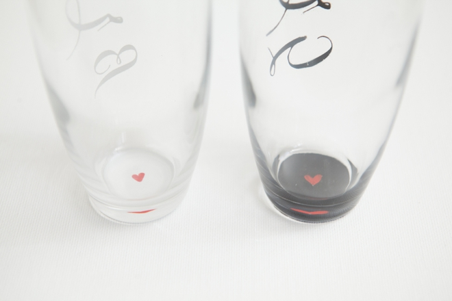 DIY Bride and Groom Champagne Glasses with hidden hearts