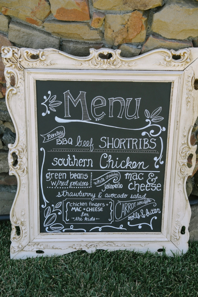 Menu chalkboard sign