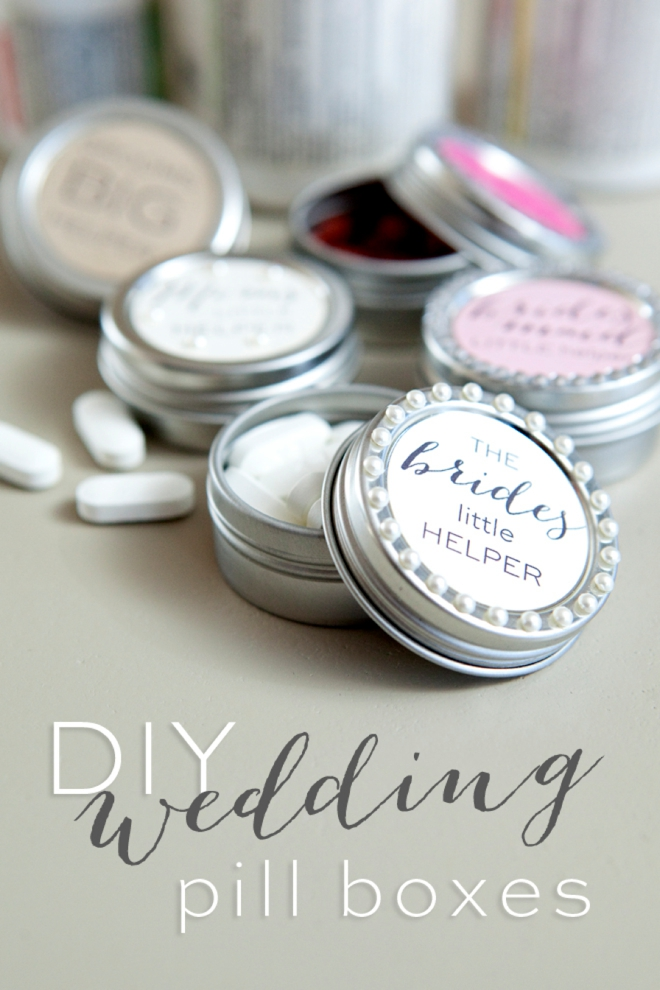DIY wedding pill box gifts