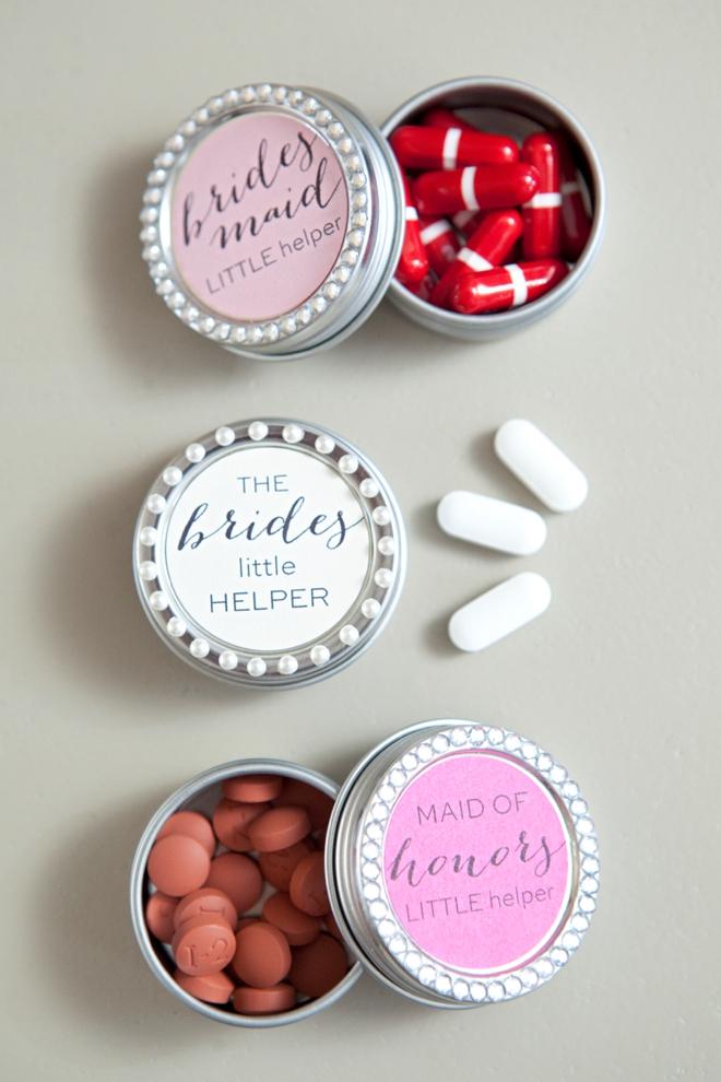 DIY bridal party pill box gifts