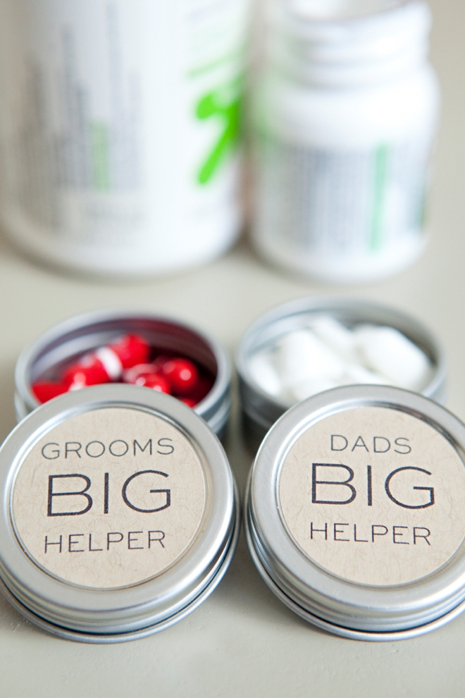 DIY dad and groom pill box gifts