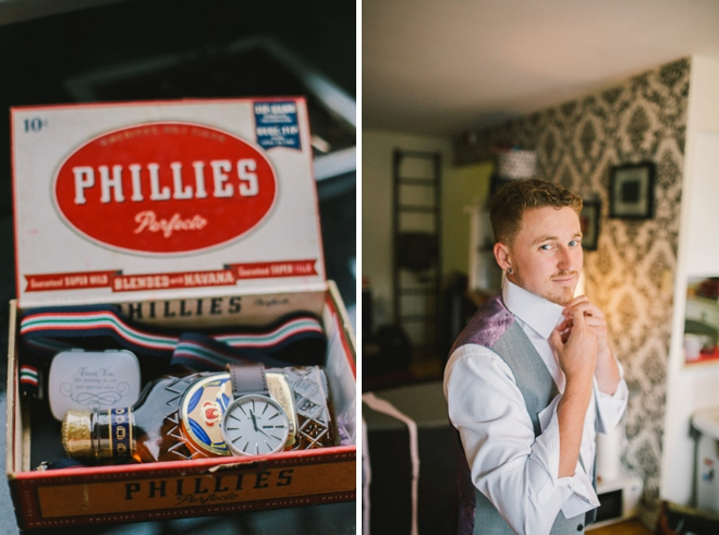 Groom and his groomsman gifts