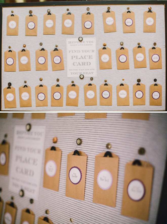 Darling pocket-style wedding seating cards