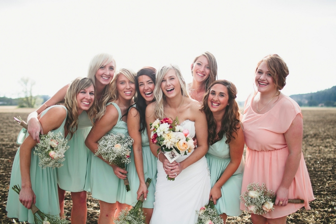 Laughing bride and her maids