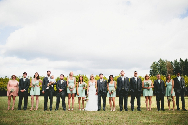 Lovely rustic turquoise and gray bridal party
