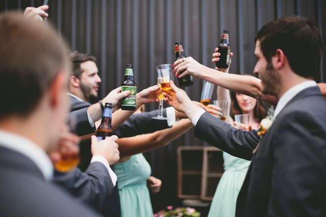 Wedding cheers with bridal party