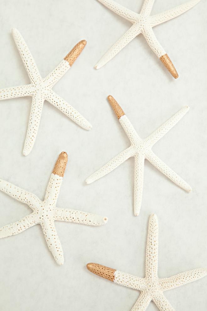 DIY gold dipped starfish favors