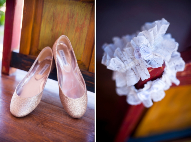 Bride shoes and garter