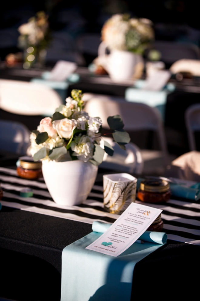 Turquoise and black wedding decor