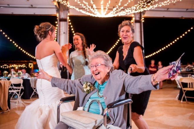 Happy grandma dancing