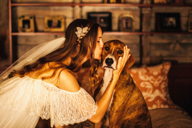 Bride kissing her dog