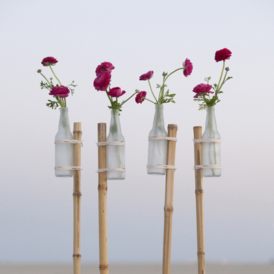 DIY Frosted Glass Vase Flower Stake