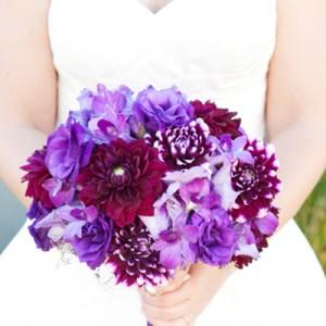 Gorgeous, purple wedding bouquet