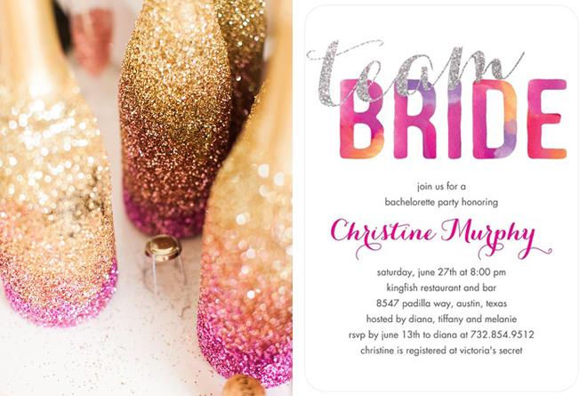 Custom bachelorette party invitation from Wedding Paper Divas