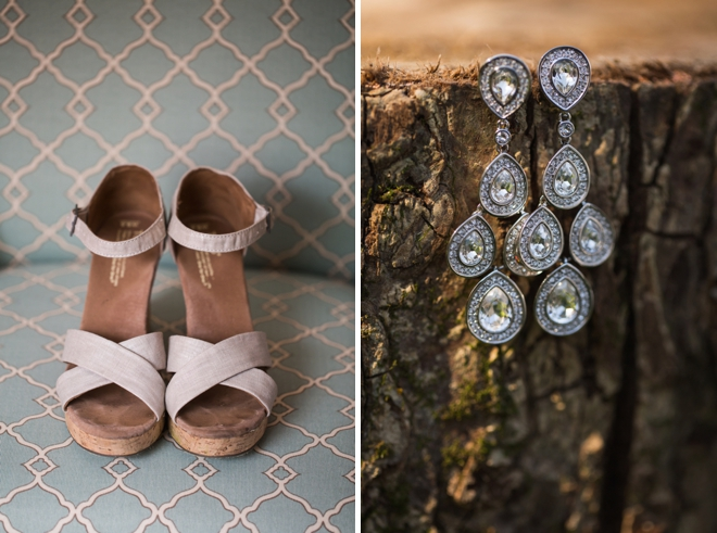 Toms wedding shoes + bride earrings