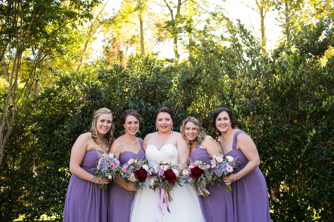 The bride and her lavender maids