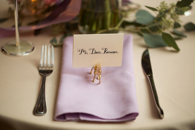 Gold animal seating cards
