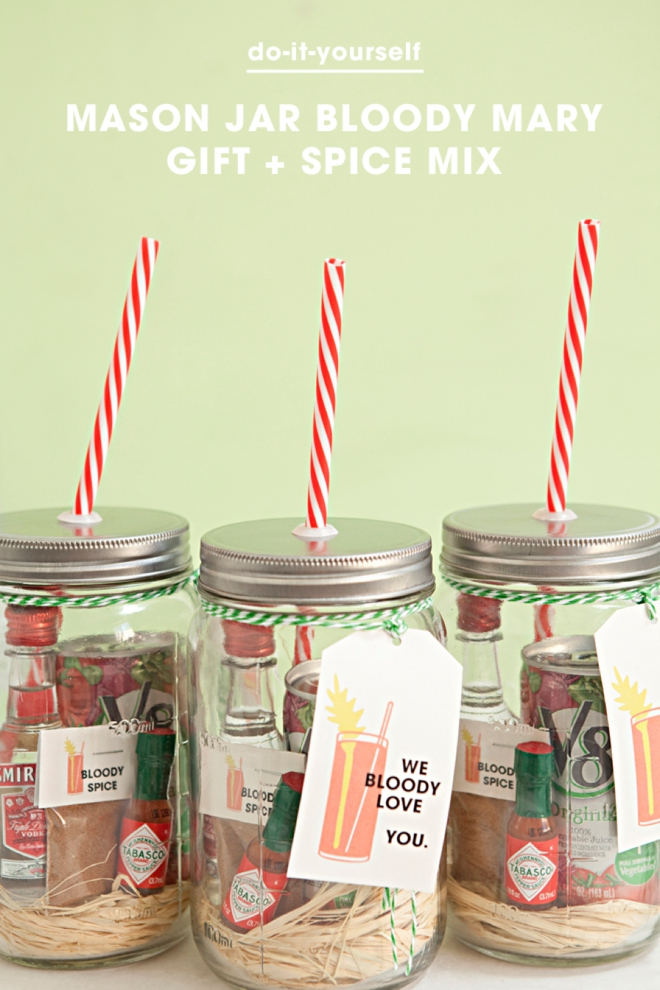 Mason Jar Bloody Mary Gift with spice