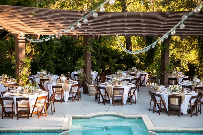 Outdoor wedding reception around a pool