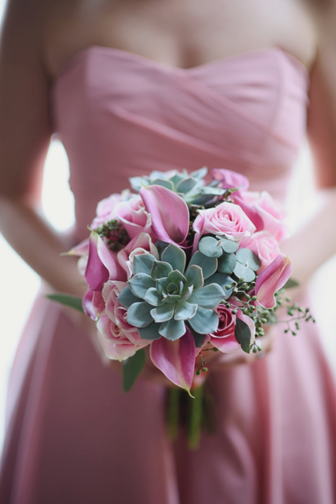 Pink succulent wedding bouquet