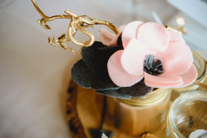 Rustic wedding tablescape with DIY felt flowers