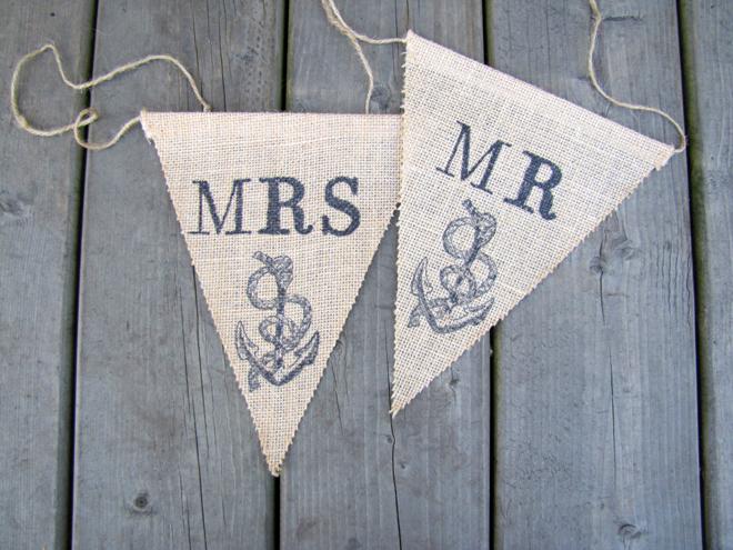 Nautical Mr & Mrs wedding signs