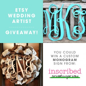 """You could win an 18"""" custom, wood monogram from Inscribed!"""