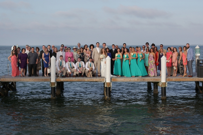 Entire wedding shot on the pier