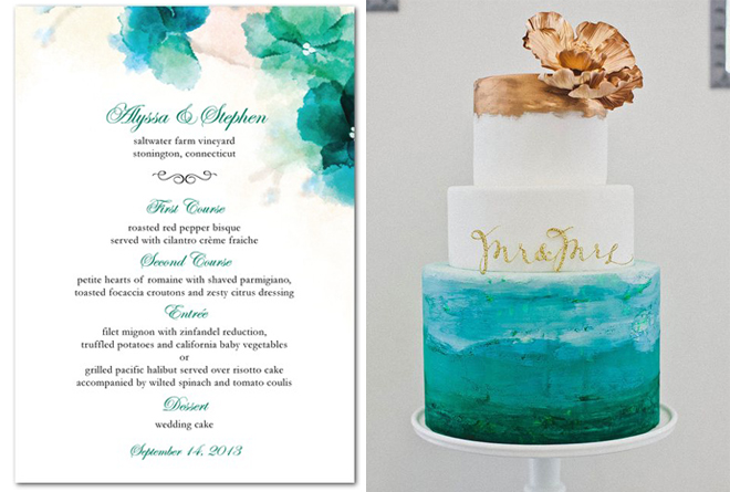 Custom wedding menu from Wedding Paper Divas
