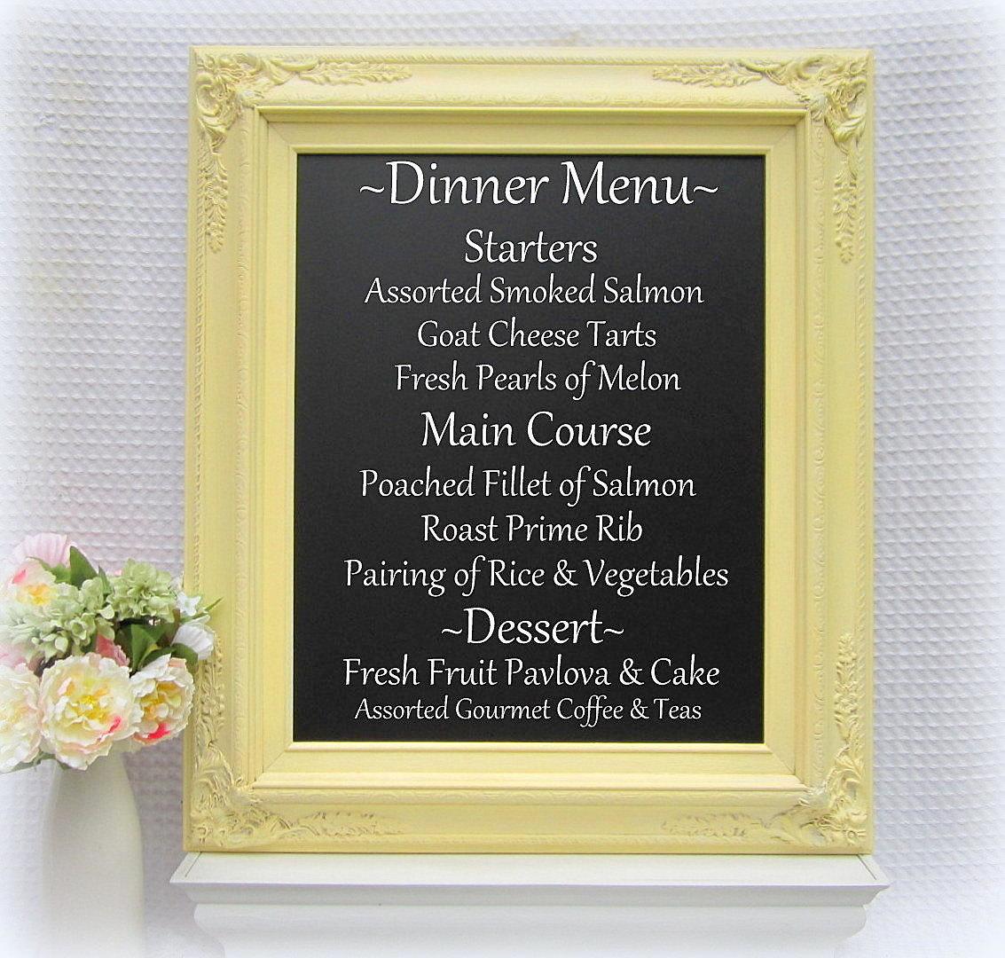 Yellow chalkboard frame for weddings