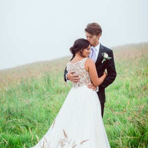Beautiful Bride and Groom embrace
