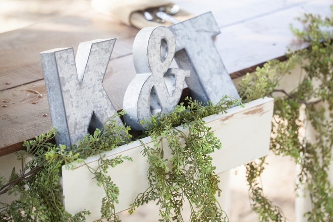 Metal letters for wedding decor