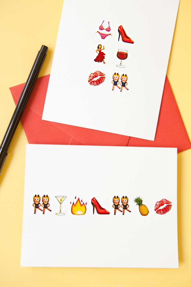 DIY awesome Emoji bachelorette party greeting card!