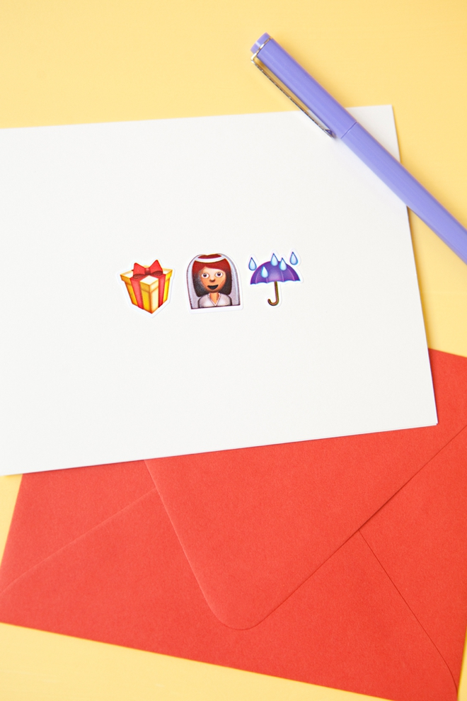 DIY awesome Emoji bridal shower greeting card!