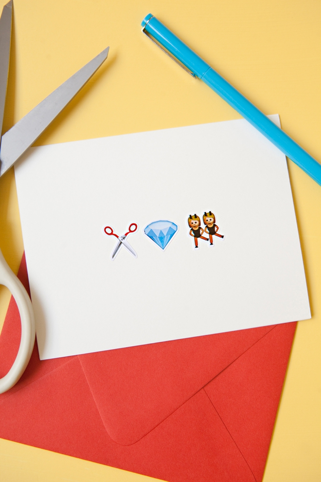DIY awesome Emoji wedding craft night greeting card!
