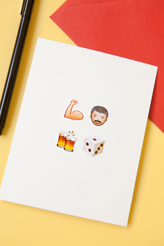 DIY awesome Emoji bachelor party greeting card!